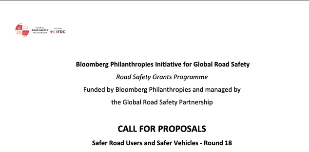 Call for Proposals: Bloomberg Initiative for Global Road Safety Grant Programme 2021 (120,000 CHF in Funding) – Round 18