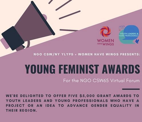 NGO CSW65 Forum Young Feminist Awards! 2021 for youth-led organizations ($5,000 Grant)