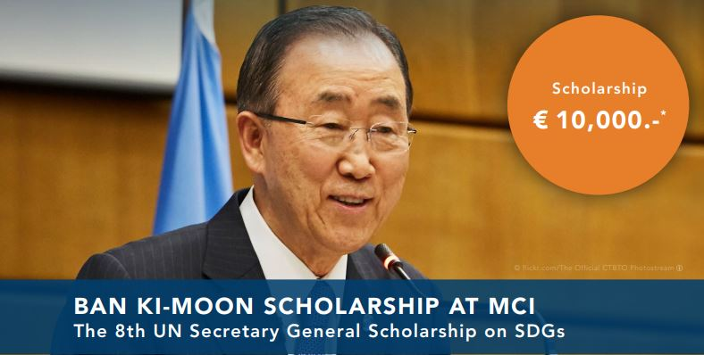 Ban Ki-Moon Scholarship for Masters Study at MCI 2021 (up to 10,000 EUR)