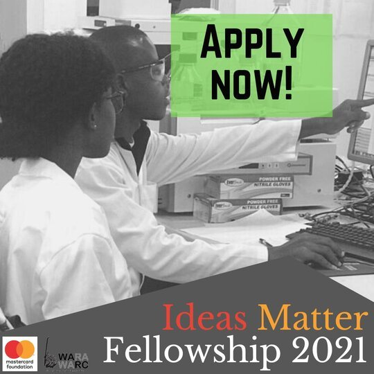WARA/Mastercard Foundation Ideas Matter Doctoral Fellowships 2021 for West African Scholars (USD$4,000 Grant)
