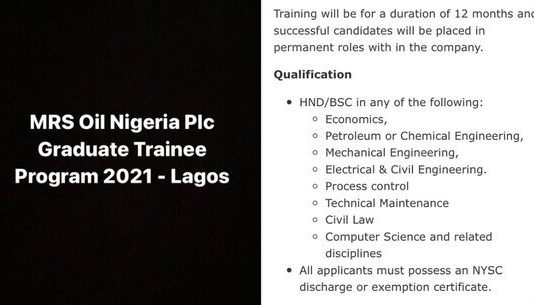 MRS Oil Nigeria Plc Graduate Trainee Program 2021 for young Nigerian graduates