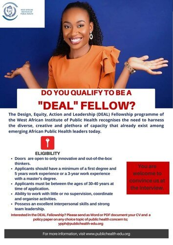 West African Institute of Public Health (WAIPH) Design, Equity, Action and Leadership (DEAL) Fellowship 2021