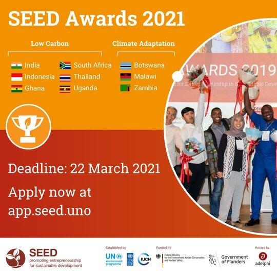 2021 SEED Awards for Entrepreneurship in Sustainable Development for Social & Environmental Enterprises.