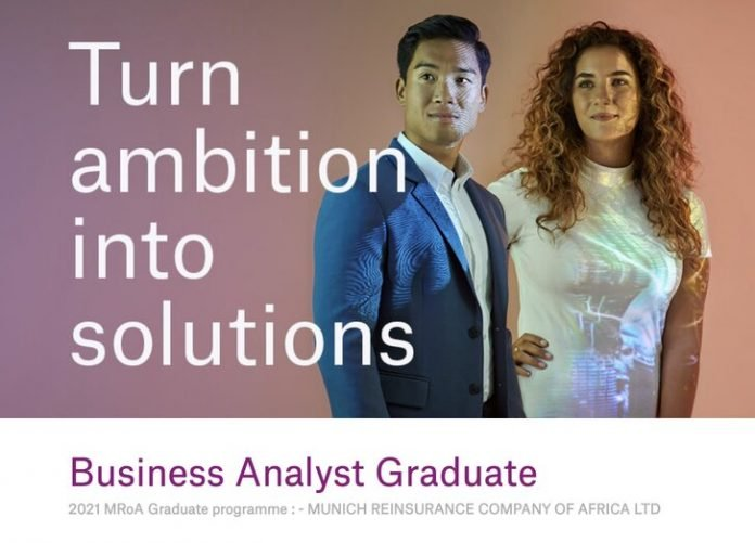 Munich Reinsurance Business Analyst Graduate Programme 2021 for young South African graduates.
