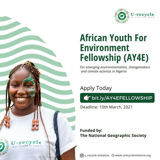 U-recycle Initiative African Youth for Environment (AY4E) Fellowship 2021 for young Nigerian emerging Change Agents.