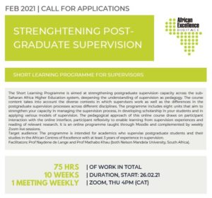 Call for Applications: Short Learning Programme Strengthening Postgraduate Supervision