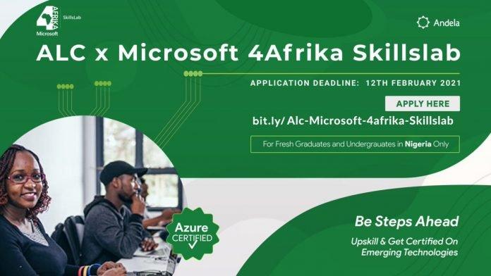 ALC x Microsoft 4Afrika Skillslab Program 2021 for young Nigerian Undergraduates & Fresh Graduates.