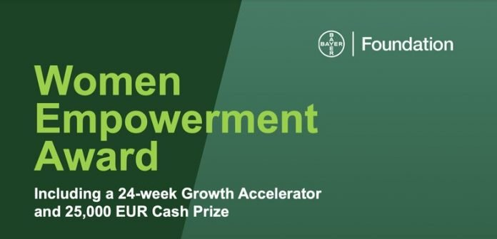 Bayer Foundation Women Empowerment Award 2021  for Female Entrepreneurs (25,000 Euro Cash Prize and 24-week accelerator)