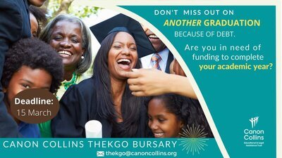Canon Collins Thekgo Debt Relief Scholarships 2021 for young Africans studying in South African Universities.
