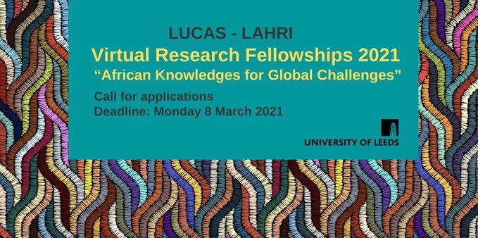 LUCAS-LAHRI Virtual Research Fellowships Scheme 2021 for Academics in Africa