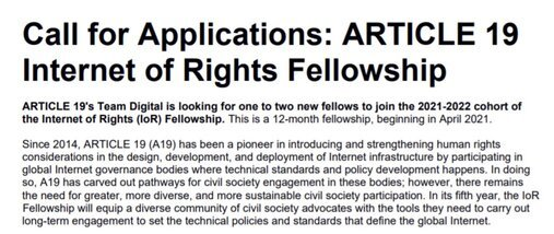 ARTICLE 19 Internet of Rights Fellowship 2021