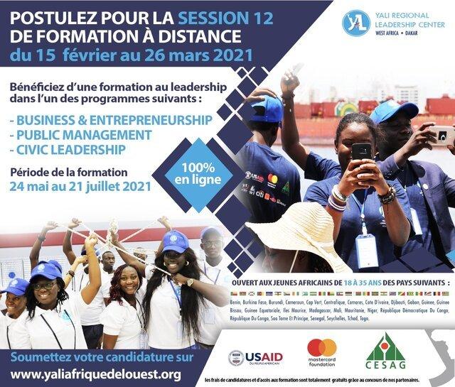 YALI Regional Leadership Center Dakar Online Cohort 12 Programme in Business Entrepreneurship, Civic Leadership & Public Management.