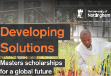 University of Nottingham Developing Solutions Masters Scholarships 2021 for Study in the United Kingdom. (50% or 100% Tuition fee scholarships)