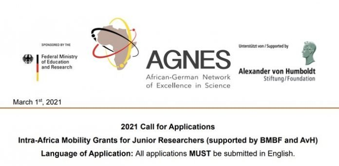 AGNES Intra-Africa Mobility Scholarships 2021/2022 for Junior Researchers from sub-Saharan African.