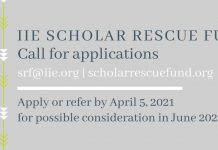 Institute of International Education Scholar Rescue Fund (IIE-SRF) Fellowship 2021-2022 (Up to $25,000)