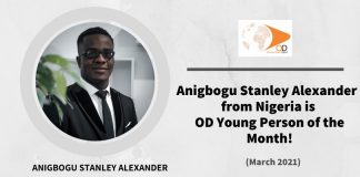 Anigbogu Stanley Alexander from Nigeria is OD Young Person of the Month for March 2021!
