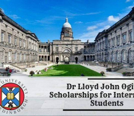 Dr Lloyd John Ogilvie Scholarships 2021/2022 for Masters Study at the University of Edinburgh