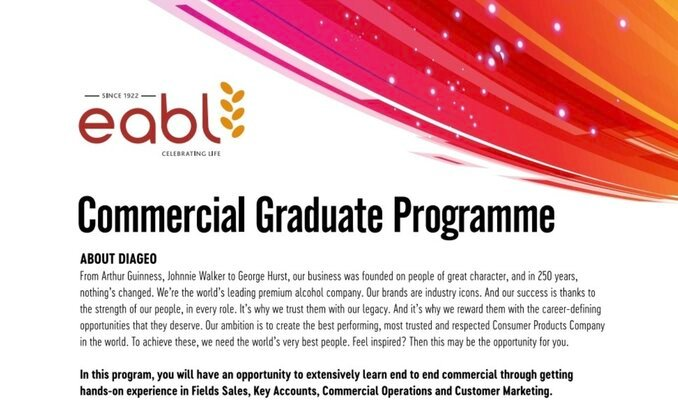 EABL Commercial Graduate Programme 2021 for young Kenyan graduates.