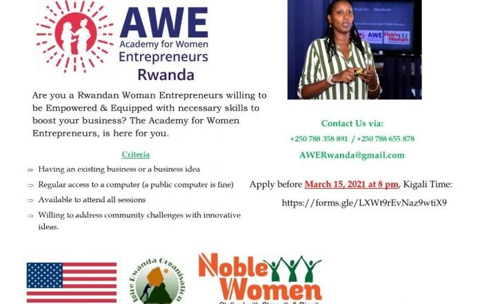 The Academy for Women Entrepreneurs (AWE) Program 2021 for Rwandan Women Entrepreneurs.