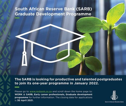 South African Reserve Bank (SARB) Graduate Development Programme 2022 for young South Africans