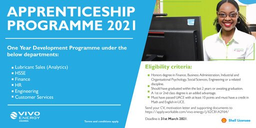 Vivo Energy Apprenticeship Programme 2021 for young Ugandans.