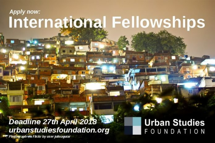 Urban Studies Foundation International Fellowship 2021 for early to mid-career urban scholars from the Global South (Fully Funded)