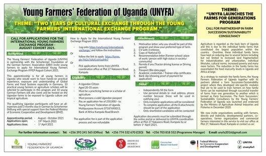 The Young Farmers' Federation of Uganda (UNYFA) International Young Farmers Exchange Program 2021