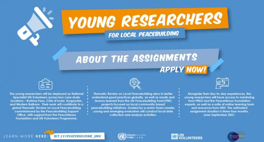 UNV/UN PBSO 2021 Call for Young Researchers for Local Peacebuilding