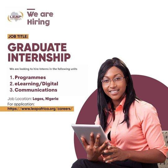 LEAP Africa Graduate NYSC Internship Programme 2021 for young Nigerian graduates.
