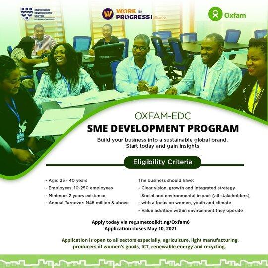 Oxfam-EDC SME Impact Program 2021 for young Nigerian Entrepreneurs.