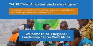 YALI RLC West Africa Emerging Leaders Program 2021 for young West Africans.
