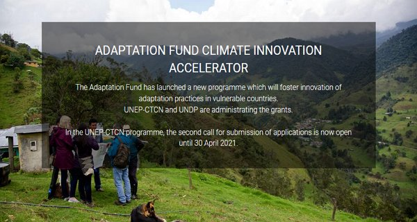 UNEP-CTCN Adaptation Fund Climate Innovation Accelerator (AFCIA) 2021