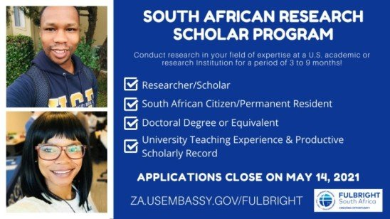Fulbright South African Research Scholar Program 2022/2023 for young South Africans (Fully Funded)