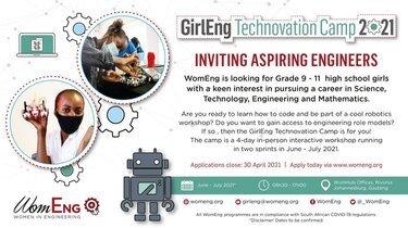 WomEng GirlEng Technovation Camp 2021 for high school girls.