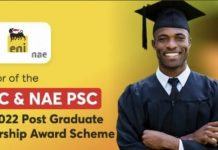 Nigerian Agip Exploration (NAE) 2021/2022 Post Graduate Scholarship Award Scheme