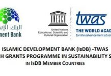 IsDB-TWAS Postdoctoral Fellowship Programme 2021 for Early-career female researchers (Fully Funded)