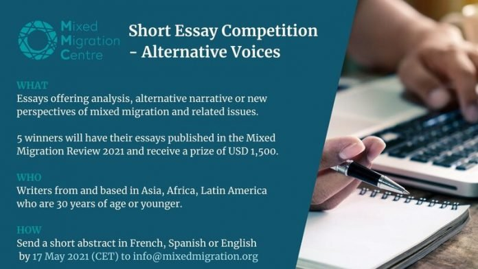 Mixed Migration Centre (MMC) Alternative Voices Short Essay Competition 2021 for young researchers and writers. (USD 1,500 Prize)