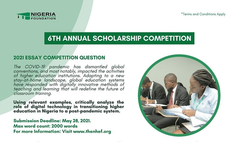 Nigeria Higher Education Foundation (NHEF) Annual Scholarship Essay Competition 2021 (Up to ₦225,000 in prizes)
