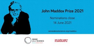 Call for Nominations: John Maddox Prize 2021 (£3,000 prize)