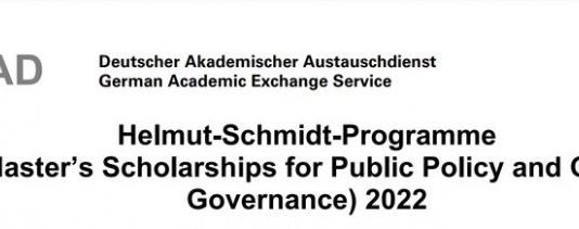 DAAD Helmut-Schmidt Programme Master's Scholarships for Public Policy and Good Governance 2022 for Study in Germany (Fully Funded)