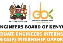 Engineers Board of Kenya (EBK) Graduate Engineers Internship Programme (GEIP) 2021 for young Kenyans.
