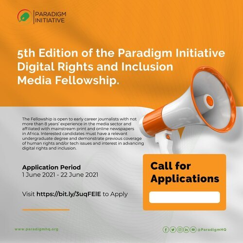 Paradigm Initiative Digital Rights and Inclusion Media Fellowship 2021 for early-career African Journalists (Fully Funded)