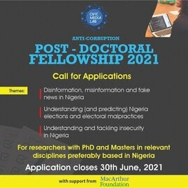 Civic Media Lab Anti-Corruption Post-doctoral Fellowship 2021 on Critical National Concerns.