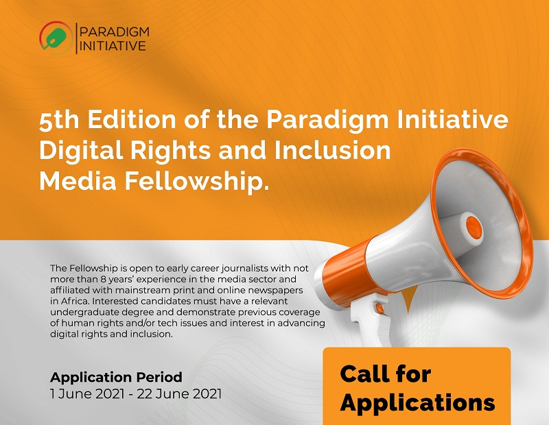 Paradigm Initiative Digital Rights and Inclusion Media Fellowship (DRIMF) 2021 for Journalists