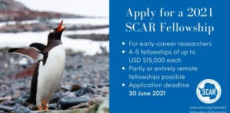 Scientific Committee on Antarctic Research (SCAR) Fellowship Program 2021 (Up to USD $15,000)