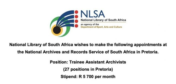 National Library of South Africa (NLSA) Trainee Assistant Archivists 2021 for young South Africans