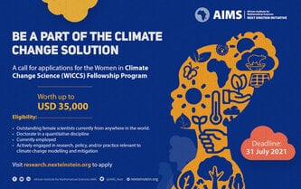 AIMS NEI Fellowship Program 2021/2022 for Women in Climate Change Science (USD 35,000 worth)