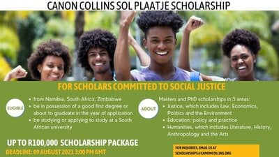 Canon Collins Trust Sol Plaatje Scholarships 2021/2022 for Postgraduate Study in South Africa (Funded)