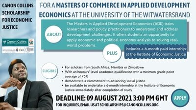 Canon Collins Trust/University of the Witwatersrand Scholarship 2022 for Economic Justice