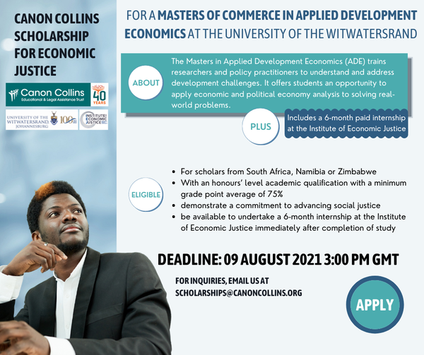 Canon Collins Scholarship for Economic Justice 2021/2022 (up to R60,000)